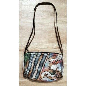 Anuschka Brown Leather Painted Shoulder Bag Purse